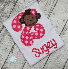 Super Cute Monkey Number Shirt  www.emmylouchildrens.etsy.com