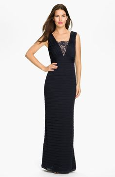 Adrianna Papell Pleated Lace Inset Mesh Gown | Nordstrom