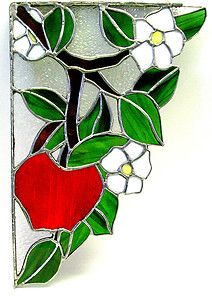 Stained glass window corner with apple tree branch and blossoms $85