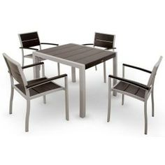 Surf City Textured Silver 5-piece Patio Dining Set With Charcoal Black Slats