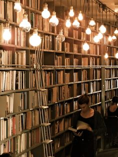 Home Library with dangling light bulbs.