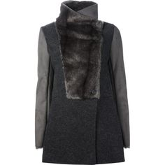 PINKO faux fur panel coat