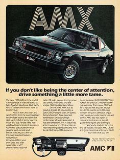Vintage Car Advertisements of the (Page Vintage Advertisements, Vintage Ads, Amc Gremlin, Jeep, Amc Javelin, Dodge, American Motors, Car Advertising, Us Cars