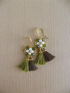Green tassel earrings with Swarovski crystals and pearls