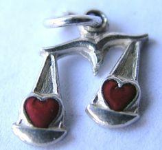 VINTAGE GERMAN SILVER & ENAMEL HEART CHARM ~ SCALE w/ HEARTS ~ Beautiful!