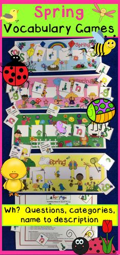 Spring Vocabulary Speech Therapy Games-3 fresh games for spring themes:: St. Patrick's, Easter and Spring/ bug/ garden. Includes language development questions or use for open-ended spring fun! From Speech Sprouts $