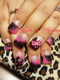 "Pink n black ""rocker chick"" nails"