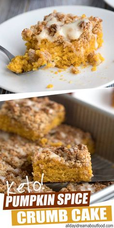 Keto Pumpkin Crumb Cake Pumpkin spice and everything nice! This delicious keto coffee cake is full of pumpkin and pie spice and is so tender and crumbly, it's pure heaven. It's the perfect recipe for any fall brunch or holiday get together. Keto Cake, Low Carb Cake, Low Carb Sweets, Low Carb Desserts, Low Carb Recipes, Diabetic Desserts, Keto Cheesecake, Budget Recipes, Diabetic Recipes
