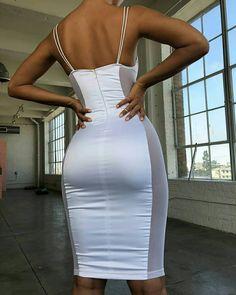Shop Spaghetti Strap Lace Splcing Bodycon Dress right now, get great deals at joyshoetique Tight Dresses, Satin Dresses, Sexy Dresses, Prom Dresses, Bandage Dresses, Trend Fashion, Fashion Mode, Lux Fashion, Fashion Games