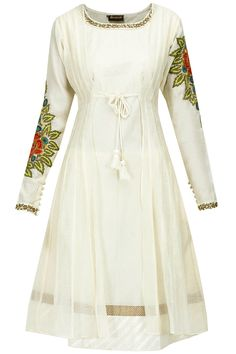 Ivory floral embroidered kurta available only at Pernia's Pop-Up Shop.