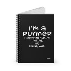 Funny Running Gifts, Spiral Notebook, Personalized Journal, Sport Gift, Runner Gifts, Black Book Special Birthday Gifts, Birthday Gifts For Her, Funny Running, Toddler Boy Gifts, Birthday Reminder, Running Gifts, Gifts For Runners, Mailing Envelopes, Planning And Organizing