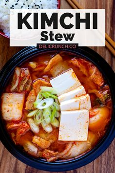 Korean Soup Recipes, Healthy Korean Recipes, Tofu Recipes, Spicy Recipes, Cooking Recipes, Korean Seafood Tofu Soup Recipe, Recipes With Kimchi, Vegan Korean Food, Yummy Recipes