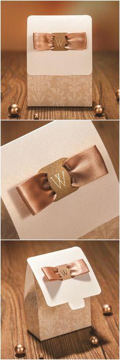elegant damask wedding favor boxes with ribbon EWFB124