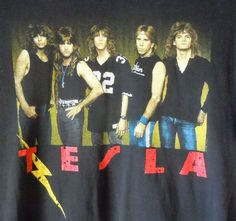 Tesla Great Radio Controversy Concert Shirt L Vintage 1988 Tour Hair Band Rare
