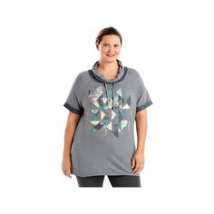Plus Size Just My Size Graphic Cowl Hoodie, Women's, Size: 2XL, Light Grey