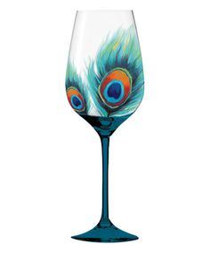 Love this Peacock Feathers Hand-Painted Wine Glass on #zulily! #zulilyfinds