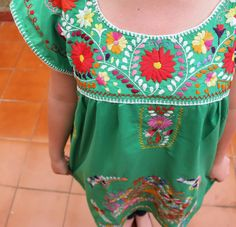 Green and Multi colored embroidery Puebla Dress by CasaOtomi