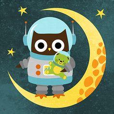 Adorable Astronaut Owl.