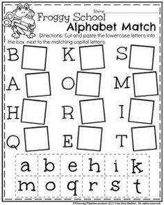 Back to School Kindergarten Worksheets - Froggy School Alphabet Match
