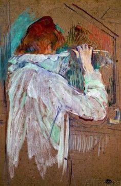 Henri de Toulouse-Lautrec Woman Curling her Hair 1896 Henri De Toulouse Lautrec, Art Nouveau, Oil Painting Reproductions, Renoir, Art Graphique, French Artists, Figurative Art, Oeuvre D'art, Van Gogh