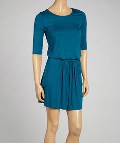 f65af12bd33 S.H.E. – Soul Harmony Energy Teal Ruched Three-Quarter Sleeve Dress