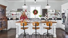 A little holiday nostalgia goes a long way in this Christmas kitchen.