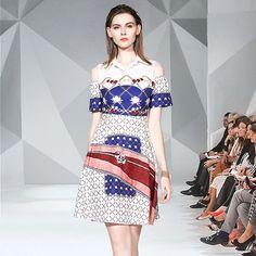 Fashion Off Shoulder Printed Mini Dress – ospchic Object Drawing, Royal Court, Flower Patterns, Retro Fashion, Fashion Dresses, House Styles, Printed, Shoulder, Mini