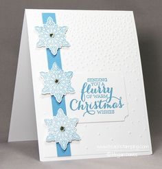 Mixing Flurry of Wishes with Softly Falling Embossing Folder (Stampin' Up!) gives you such a stunning card! Check out this handmade Christmas card idea!