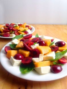 Layer cubes of cantaloupe with halved and pitted cherries with mozzarella and basil and drizzle with balsamic for a cherry-cantaloupe caprese.