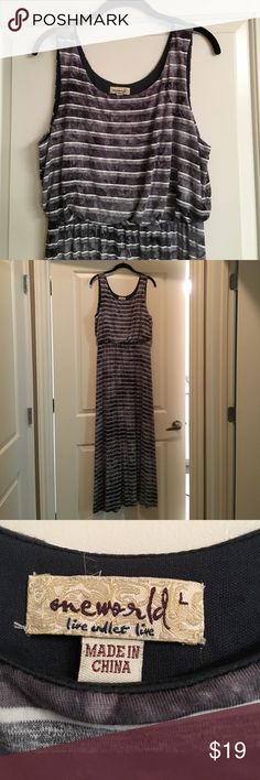 Stripe Maxi Dress Stripe Maxi Dress. Sleeveless. Size Large. 49 in from under arm to hem. waistband to hem 43 in.  Gray/Black/White. 57% Rayon, 36% Polyester, 7% Spandex. Lining 100% Polyester. Black Lining above waist. Elastic waistband. Gently Worn ONE WORLD Dresses Maxi