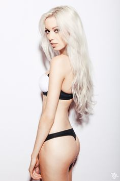 long platinum / white blonde hair