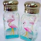 FLAMINGO SALT AND PEPPER SHAKERS - hand painted art on glass