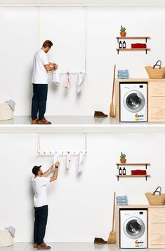 George and Willy have created a modern hanging drying rack, that's suspended from the ceiling using a seamless pulley system, allowing the clothes rack to quickly dry laundry by utilising warm air trapped in the ceiling space.