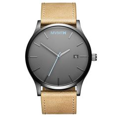 Men's Gunmetal cased Sandstone leather watch from MVMT Watches. This Sandstone version is a versatile watch, fitting in casual, formal and professional setting