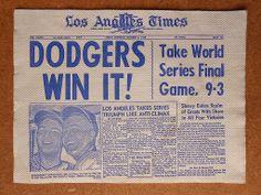 "1959 Los Angeles Napkin LA Times ""DODGERS Win It!"" Duke Snider Larry Sherry"