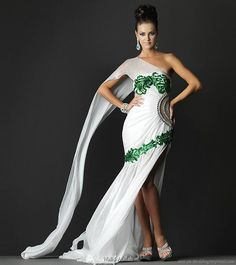Stunning Walid Atallah white and emerald green #wedding #dress
