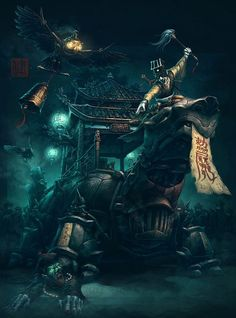 Exorcist+Chinese+Steampunk+Print+by+James+Ng+by+JeffersonTrader,+$25.00