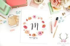Custom Monogram Intial, Roses Wreath, Baby Girl's Room, nursery decor,  Monogram Initial Wall Art, 8x10 Art Print, Watercolor Roses