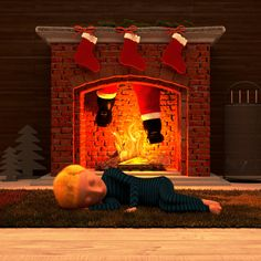 """Merry Christmas to all of you!   The picture shows a christmas scene for the BlenderGuru """"Christmas"""" competition.  The story: A boy were really excited about Santa Claus, because he wanted to see Santa. So he tried to stay awake all night long. Nevertheless the boy felt asleep.  On the picture you can see the boy sleeping and Santa's legs in the chimney. #3D #CG #Visualization #b3d #christmas #competition #behnkes3design #render"""
