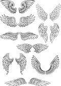 Pássaro Heraldic ou asas de Anjo conjunto