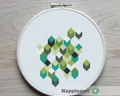 modern geometric cross stitch pattern PDF pattern por Happinesst