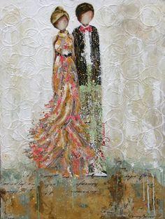 LOVE the texture she uses in the background. I really enjoy this artitst: Kim Schuessler Collage Art Mixed Media, Mixed Media Artists, Mixed Media Canvas, Artist Art, Artist At Work, Art Assignments, Mediums Of Art, Wedding Art, Art Journal Inspiration