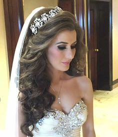 Gorgeous bride Fatime wearing wearing her custom designed bridal crown and crystallized veil!
