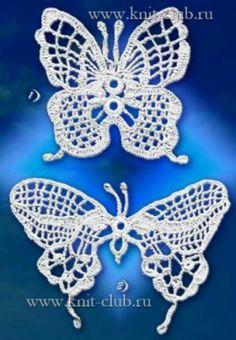 1/3 Butterfly Patterns Freeform Crochet, Crochet Diagram, Thread Crochet, Crochet Motif, Crochet Designs, Crochet Yarn, Crochet Stitches, Doily Patterns, Stitch Patterns