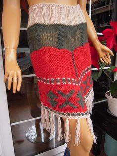Handmade knitted  folk skirt/hippie skirt/eco by GoldenYarn, $110.00