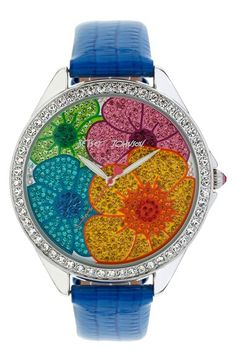 colorful floral pavé leather watch http://rstyle.me/n/n877rr9te