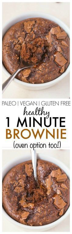 The ultimate healthy 1 Minute Brownie which is moist, gooey and LOADED with chocolate goodness but with NO butter, NO oil, NO grains and NO sugar- Oven directions too! {vegan, gluten free, paleo recipe}- http://thebigmansworld.com