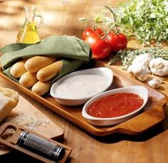 Olive Garden Breadsticks with dipping sauces: Freshly prepared alfredo or marinara sauce, served warm ~ Olive Garden Menu