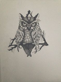 Triangle Owl Drawing tattoo design print  by NicAlli on Etsy, $12.00