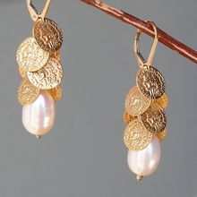 Baroque Pearl and Coin Discs Earrings